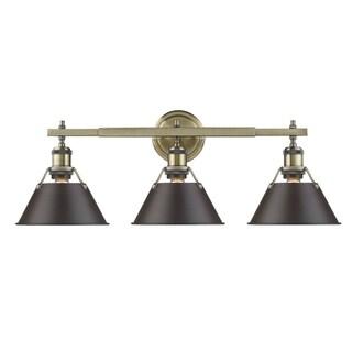 Golden Lighting Orwell AB Aged Brass Rubbed Bronze Shade 3-light Vanity Light Fixture