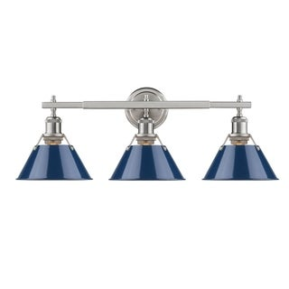 Golden Lighting Orwell PW Pewter Navy Blue Shades Steel 3-light Bath Vanity Fixture