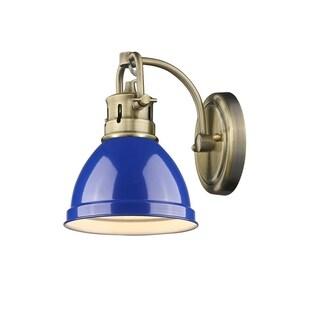 Golden Lighting Duncan Aged Brass 1-light Bath Vanity With Blue Shade
