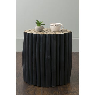 East At Main's Hoover Black Teak Wood Branch Round Accent Table