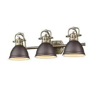 Golden Lighting Duncan Aged Brass Finish Steel Rubbed Bronze Shades 3-light Bath Vanity Fixture