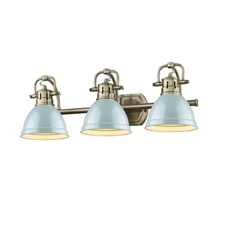 Golden Lighting Duncan Brass 3-light Bath Vanity with Seafoam Shades