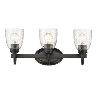 Golden Lighting Parrish Black/Seeded Glass 3-light Bath Vanity