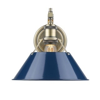 Golden Lighting Orwell Aged Brass-colored Steel 1-light Wall Sconce with Navy Blue Shade