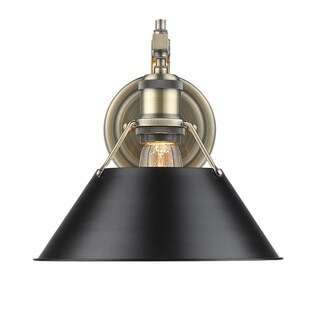 Golden Lighting Orwell Aged Brass 1-light Wall Sconce With Black Shade