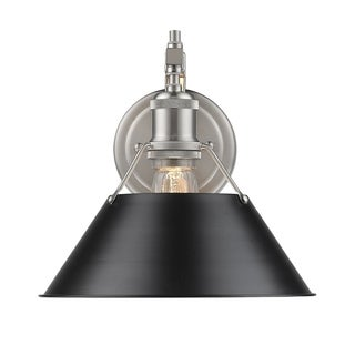 Golden Lighting Orwell Pewter 1-light Wall Sconce With Black Shade