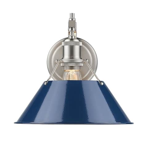 Golden Lighting Orwell PW Pewter Navy Blue Shade Steel 1-light Wall Sconce