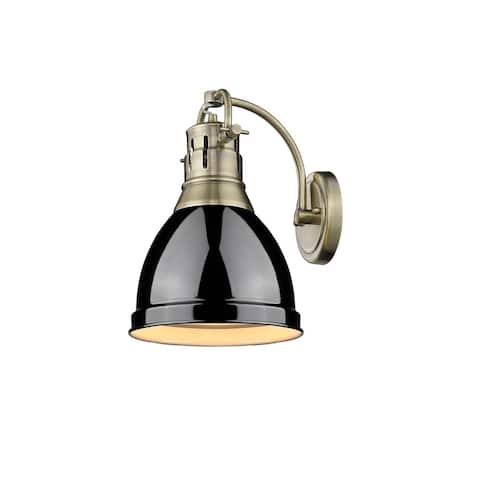 Duncan 1 Light Wall Sconce in Aged Brass with a Black Shade