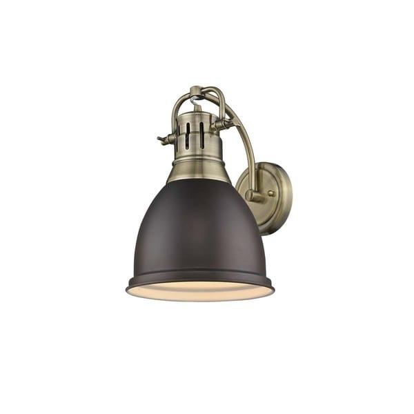 Shop Golden Lighting Duncan Aged Brass 1-light Wall Sconce ... on Aged Brass Wall Sconce id=47706