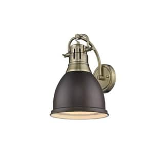 Golden Lighting Duncan Aged Brass 1-light Wall Sconce with a Rubbed Bronze Shade https://ak1.ostkcdn.com/images/products/14075703/P20687654.jpg?impolicy=medium