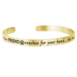 Qina C. A True Friend Reaches for Your Hand but Touches Your Heart Adjustable Cuff Bracelet Wristband Bangle