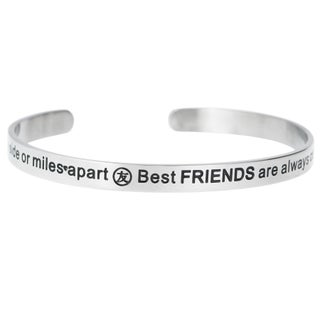 Qina C. 'Side by Side or Miles Apart, Best Friends Are Always Connected by Heart' Adjustable Bracele (3 options available)
