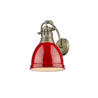 Golden Lighting Duncan 1-light Aged Brass with Red Shade Wall Sconce