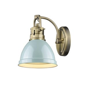 Duncan 1-light Bath Vanity in Aged Brass with a Seafoam Shade