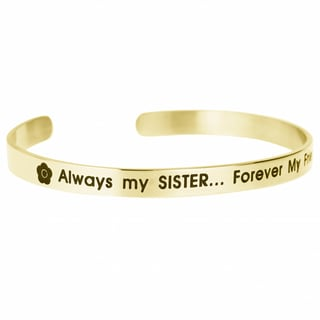 Qina C. 'Always My Sister.... Forever My Friend' Adjustable Cuff Bracelet