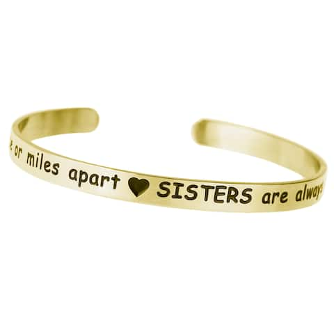 Qina C. Side by side or miles apart. Sisters are always close at heart Adjustable Cuff Bracelet Wris