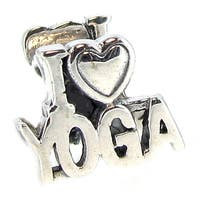 Queenberry Sterling Silver I Love Yoga European Bead Charm