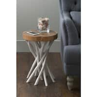 East At Main's Lancer White Teakwood Round Accent Table