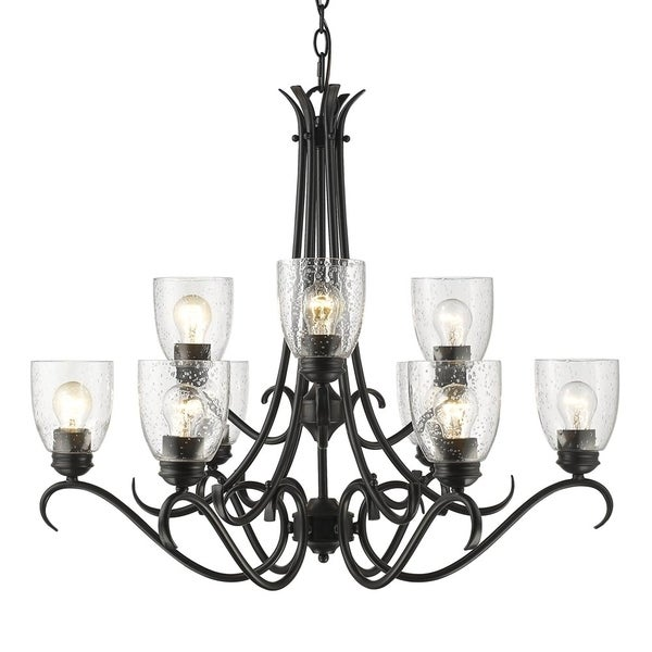 Golden Parrish 9-light Black Chandelier with Seeded Glass