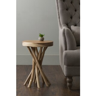 The Curated Nomad Macondry Brown Teakwood Accent Table