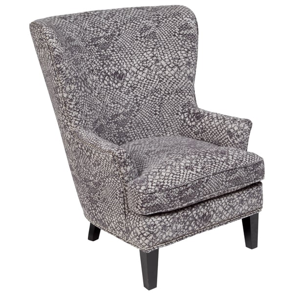 Porter Medusa Ash Grey Wingback Accent Chair With Silver Nailhead Trim