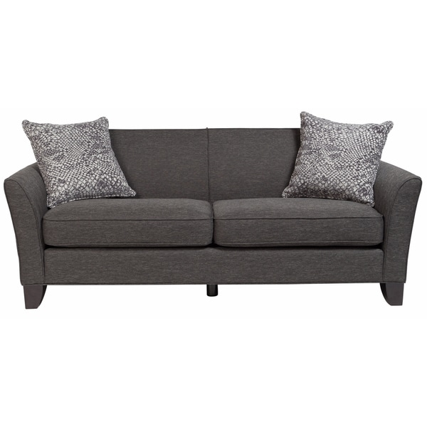 Porter Medusa Charcoal Grey Mid Century Modern Sofa with 2 Woven