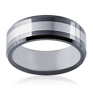 Men's 2-tone Tungsten/ Black Ceramic Band