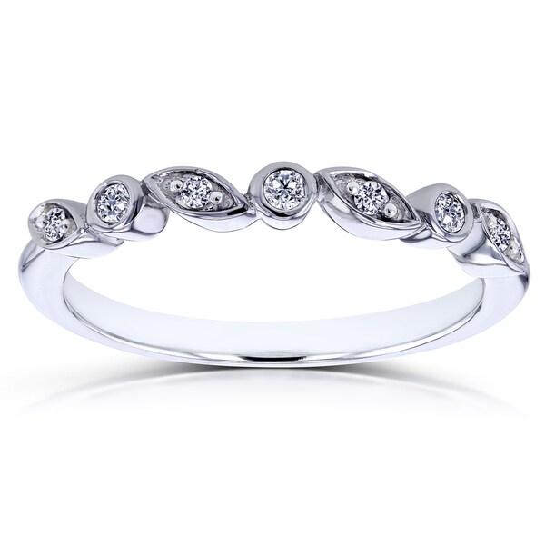 Annello by Kobelli 10k White Gold Stackable Diamond Ring