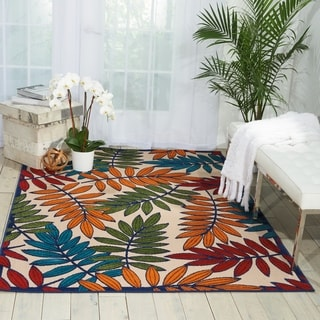 Nourison Aloha Leaf Print Indoor/Outdoor Area Rug
