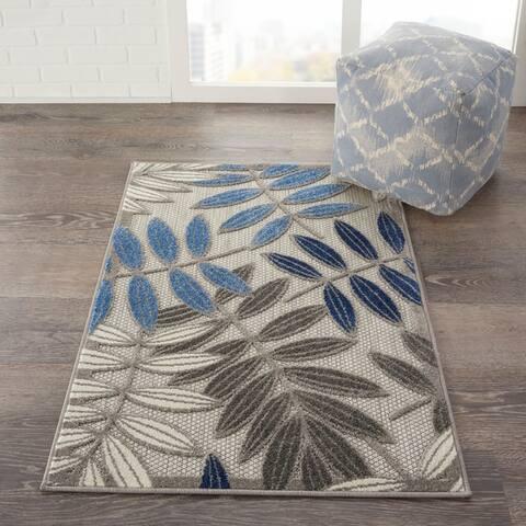 Nourison Aloha Leaf Print Indoor/ Outdoor Area Rug