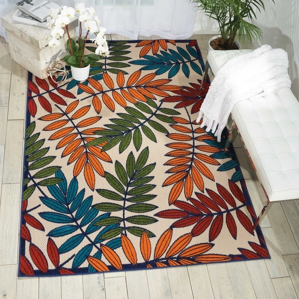"Nourison Aloha Multicolor Indoor/Outdoor Rug - 5'3"" x 7'5"""