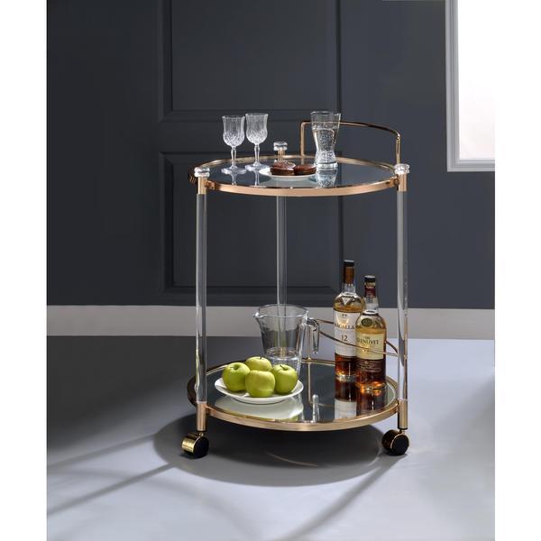 Etonnant Acme Furniture Todd Glass Serving Cart In Goldtone Finish