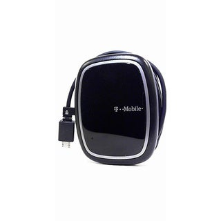 T-Mobile Black Universal Wall Charger With Cord Management and USB Port