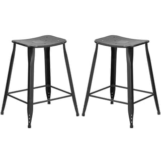 Black Galvanized Metal 24-inch Stool