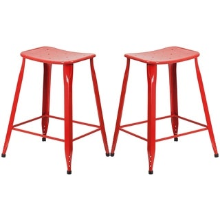 Red Galvanized Metal 24-inch Stool
