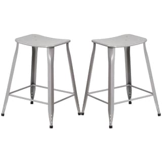Silver Galvanized Metal 24-inch Stool