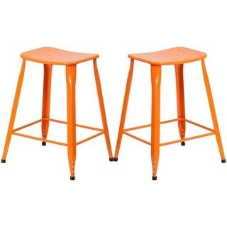 Orange Galvanized Metal 24-inch Stool