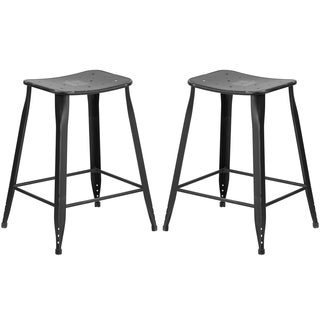 Distressed Black Galvanized Metal 24-inch Stool