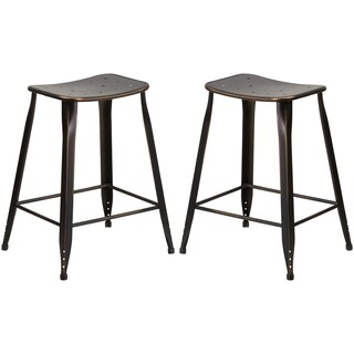 Distressed Copper Galvanized Metal 24-inch Stool