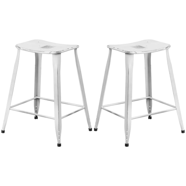 Distressed White Galvanized Metal 24-inch Stool