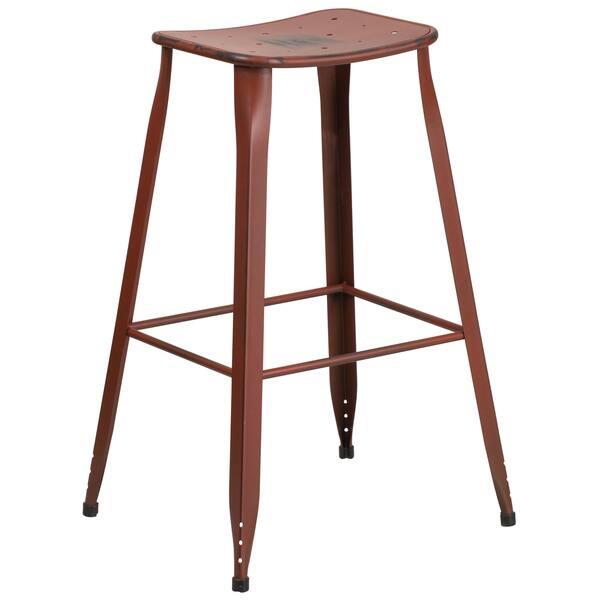 Super Distressed Red Galvanized Metal 30 Inch Bar Stool Creativecarmelina Interior Chair Design Creativecarmelinacom
