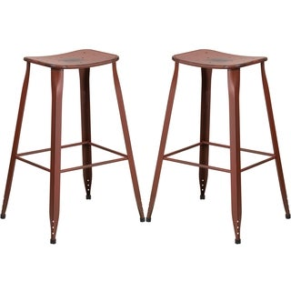Distressed Red Galvanized Metal 30-inch Bar stool