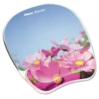 Fellowes Gel Mouse Pad with Wrist Rest Photo 9 1/4 x 7 1/3 Pink Flowers