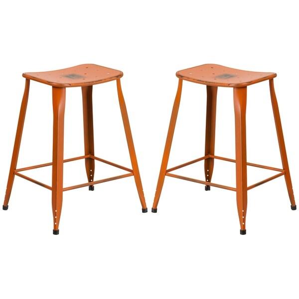 Shop Distressed Orange Galvanized Metal 24 Inch Stool