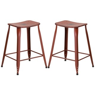 Distressed Red Galvanized Metal 24-inch Stool