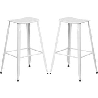White Galvanized Metal 30-inch Bar stool