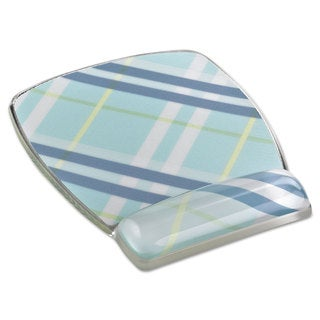 3M Fun Design Clear Gel Mouse Pad Wrist Rest 6 4/5 x 8 3/5 x 3/4 Plaid Design