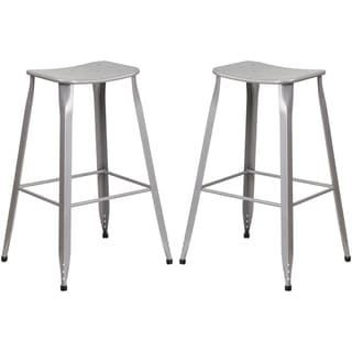 Silver Galvanized Metal 30-inch Bar stool