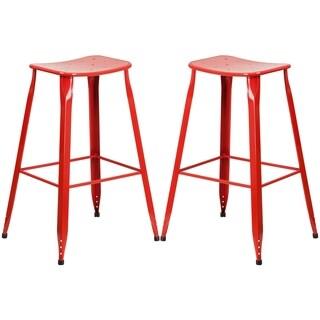 Red Galvanized Metal 30-inch Bar stool