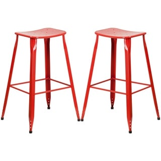 Red Galvanized Metal 30-inch Bar stool